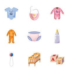 Things for baby icons set cartoon style vector