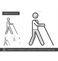 Walking stick line icon vector