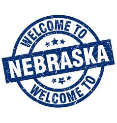 Welcome to nebraska blue stamp vector