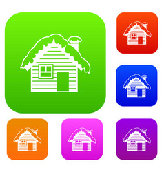 wooden house covered with snow set collection vector image vector image