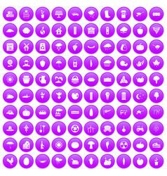100 pumpkin icons set purple vector
