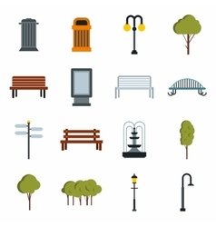 Park icons set flat style vector image