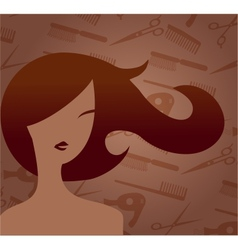 Hair accessories and woman with haircut vector