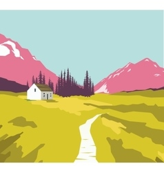 Mountain landscape with a lonely house vector