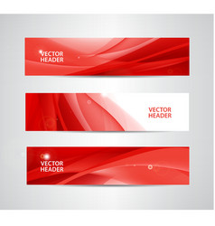 Set of abstract silk wavy headers red vector
