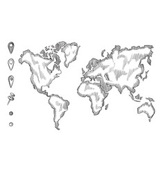 hand drawn rough sketch world map with doodle vector image