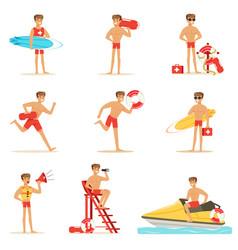 Lifeguard man character doing his job water vector