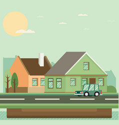Flat residential house vector