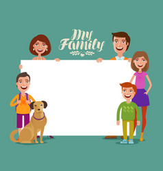 Happy family banner children and parents concept vector