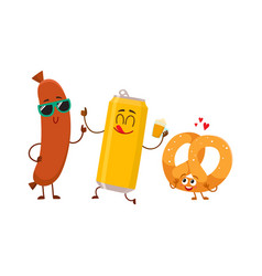 happy beer can salty pretzel frankfurter sausage vector image