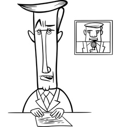 Broadcaster on television coloring page vector