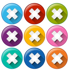 Round buttons with medical plasters vector