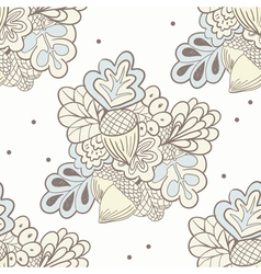 Hand drawing oak elements seamless pattern vector