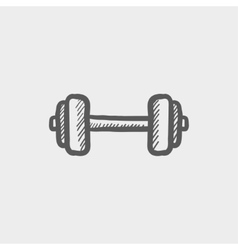 Dumbbell sketch icon vector