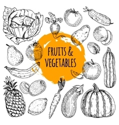 Healthy food collection hand drawn doodle vector