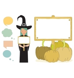 Witch holding a blank placard vector