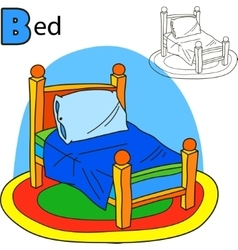 Bed coloring book page cartoon vector