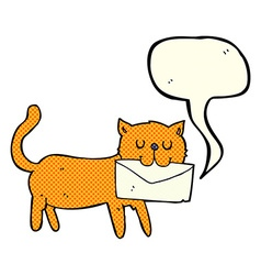 Cartoon cat carrying letter with speech bubble vector