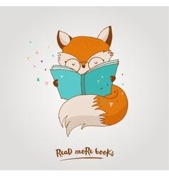 Smart fox reading book greetin card vector