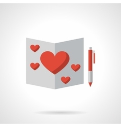 Love greeting flat color icon vector