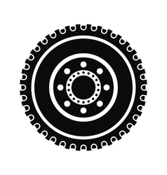 Car wheel black simple icon vector