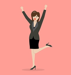 Business woman celebrating success vector