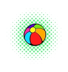Colorful ball icon comics style vector