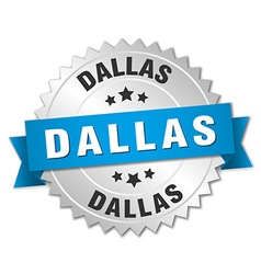 Dallas round silver badge with blue ribbon vector