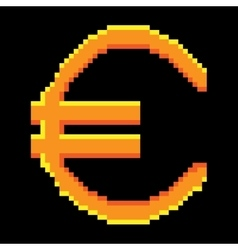 Sign pixel euro gold 1106 vector