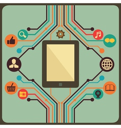 Abstract concept of social media with tablet pc vector image