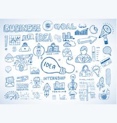 business doodles sketch set infographics vector image