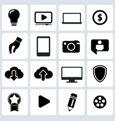 Clean black web icons set vector image