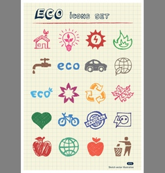 Eco elements and environment web icons set vector image