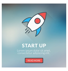 Flat design concept for start up with blurr vector