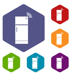 Fridge icons set hexagon vector