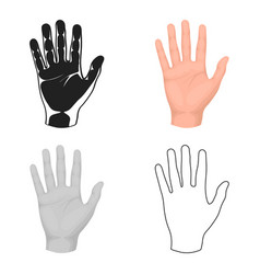 Hand icon in cartoon style isolated on white vector