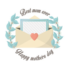 Happy mothers day best mom ever message invitation vector