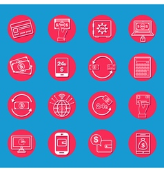 Internet Banking Icons Set in flat style vector image