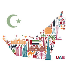 map of united arab emirates consisting of the vector image vector image