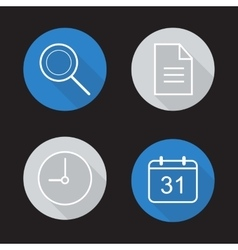Organiser app flat linear icons set vector