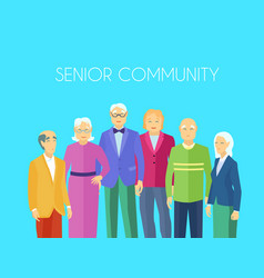 senior community people group flat poster vector image vector image