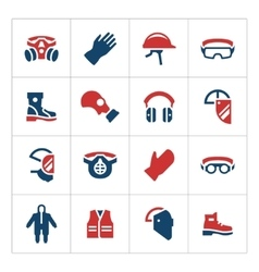 Set color icons of personal protective equipment vector