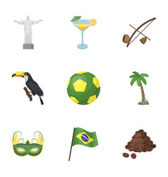 Set of icons on the subject of brazil brazilian vector
