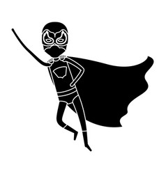 Silhouette black full body superhero guy flying vector