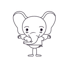 Sketch silhouette caricature of cute elephant vector