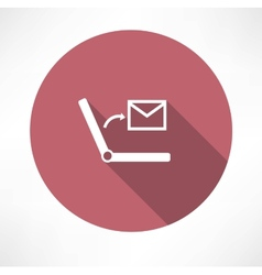 Sms on laptop icon vector