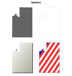 Spokane map icon set vector