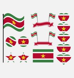 suriname flag set symbols flag in heart vector image vector image