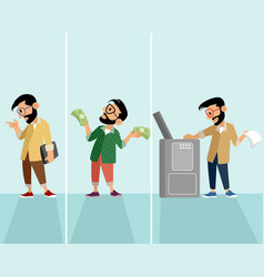 three hipster in situation vector image