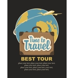 travel suitcase and the words travel time vector image vector image
